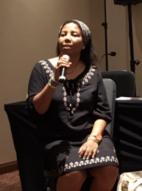 Azza Soliman, of CEWLA, speaking at a session by WHRD MENA Coalition