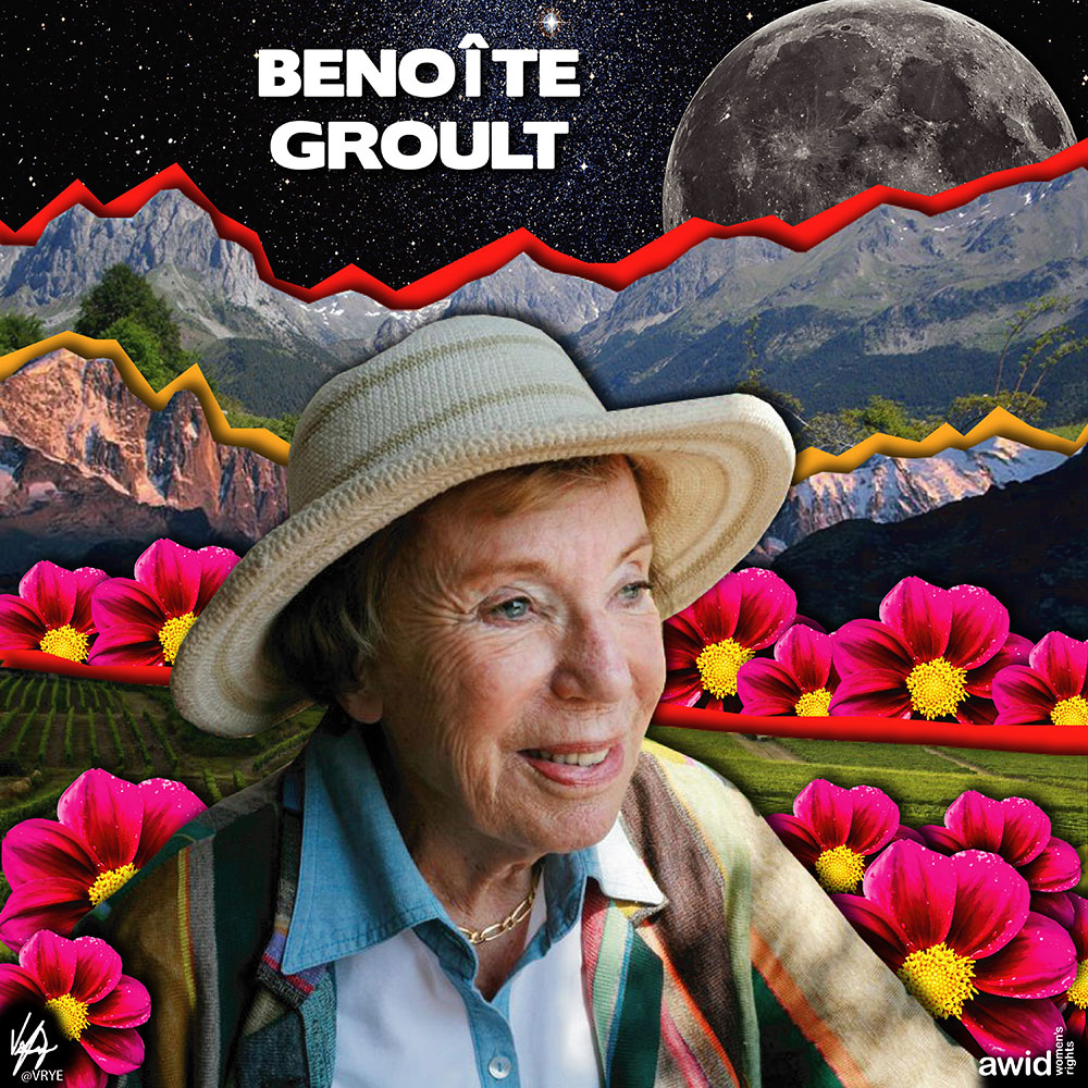 "<strong>Benoîte</strong> was a French journalist, writer, and feminist activist. She published more than 20 novels as well as many essays on feminism.<br /><a href=""https://www.awid.org/whrd/benoite-groult"" title=""WHRD: Benoite Groult"">Read more ></a>"
