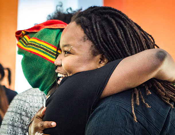 BFF - Creating Homespace - 2 Black feminist activists Hugging  (photo : NOR) (610x470)