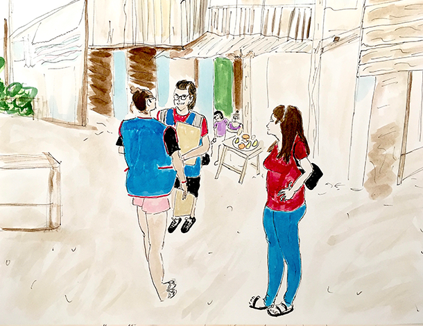Casa Trans Zuleymi - 3 people standing, talking in the street (610x470)