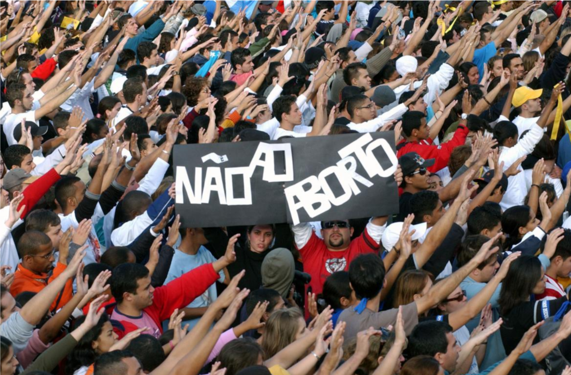 Anti abortion banner at a gathering of youth to meet Benedict XVI at the Estádio do Pacaembu in São Paulo, Brazil.