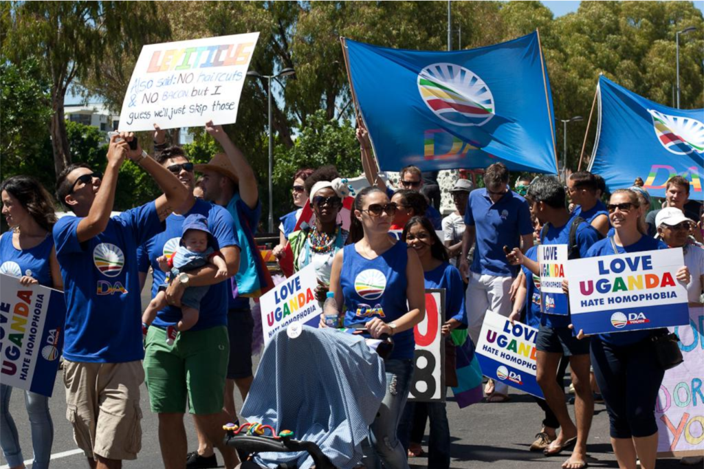 Gay Pride march in Cape Town 2014 in solidarity with LGBT people of Uganda.