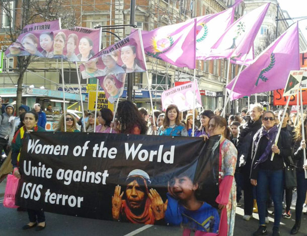 Kurdish Women Marc Against ISIS in London (610x470)