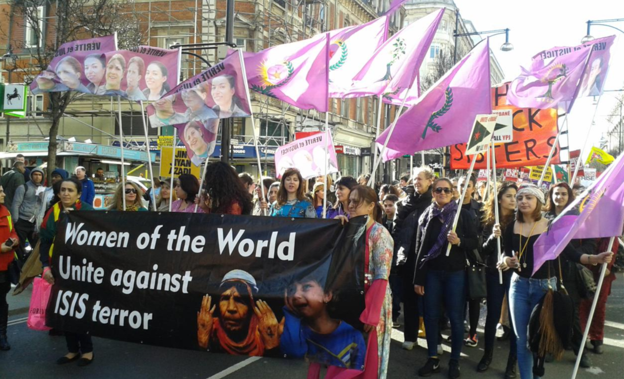 Kurdish Women Marc Against ISIS in London