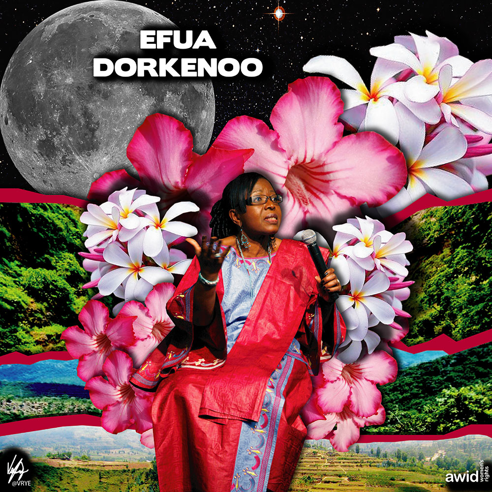 "Known as ""<strong>Mama Efua</strong>"", her work to end Female Genital Mutilation helped bring international attention and action to end the practice.<br /><a href=""https://www.awid.org/whrd/efua-dorkenoo-0"" title=""WHRD: Efua Dorkenoo"">Read more &gt;</a>&nbsp;"