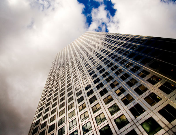 "Skyscrapper, symbol of coporate finance (""Shiny"", by Laurence Edmondson 