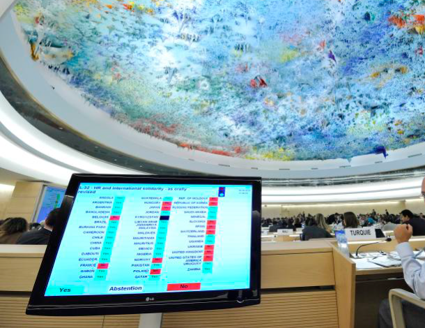 Human Rights Council, Geneva - screen of vote on resolution (610x470)