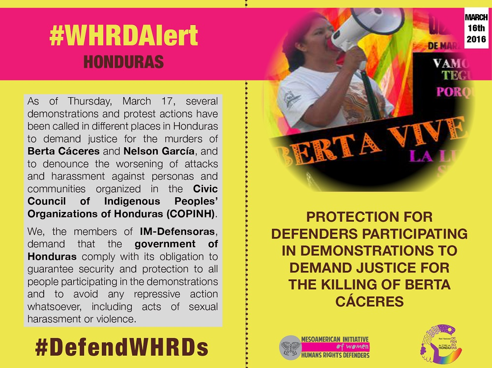IM-Defensoras Honduran WHRDs protection