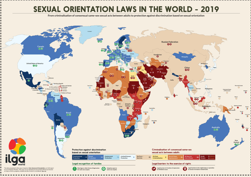 Infographics: Map of the criminilization of sexual orientation in the world - ILGA