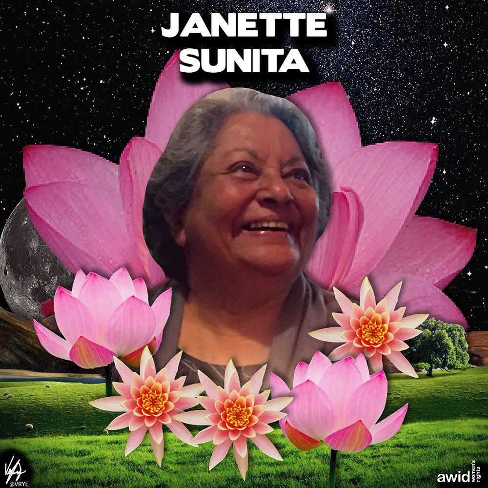 "<strong>Janette</strong>'s intolerance of injustice and commitment to standing up for people's rights led her to work for sexual and reproductive health and rights.<br /><a href=""https://www.awid.org/whrd/janette-sunita"" title=""WHRD: Janette Sunita"">Read more ></a>"