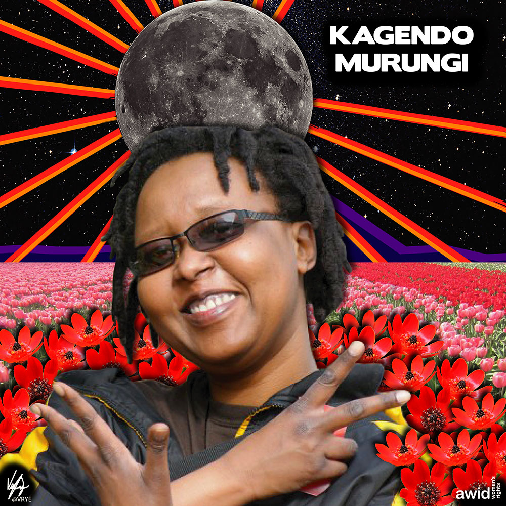 "<strong>Kagendo </strong>was an African feminist artist, and filmmaker. She dedicated over 20 years to advocate for the rights and dignity of African LGBTIQ and gender non conforming people.<br /><a href=""https://www.awid.org/whrd/kagendo-murungi"" title=""WHRD: Kagendo Murungi"">Read more ></a>"