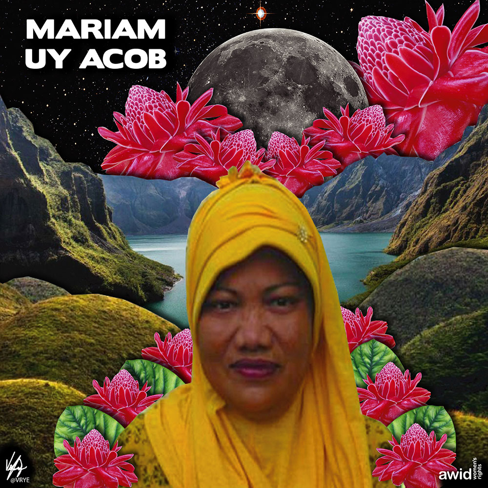 "<strong>Mariam </strong>was a staunch critic of militarization in Moro communities, and consistently denounced aerial bombardment and encampment in the&nbsp;Philippines.<br /><a href=""https://www.awid.org/whrd/mariam-uy-acob"" title=""WHRD: Mariam Uy Acob"">Read more &gt;</a>"