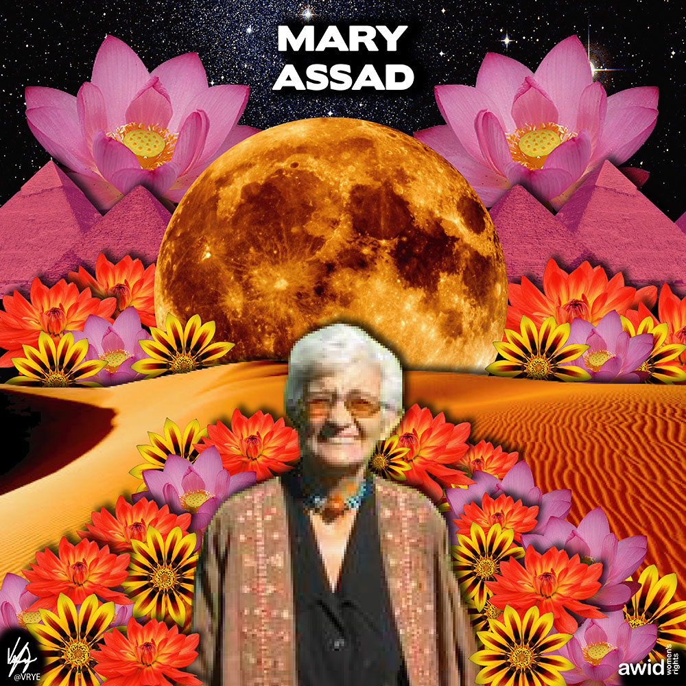 "An expert on social development and anthropologist by training, <strong>Mary </strong>was best known as a pioneer in the battle against Female Genital Mutilation (FGM).<br /><a href=""https://www.awid.org/whrd/mary-assaad"" target=""_blank"" title=""WHRD: Mary Assad"">Read more ></a>"