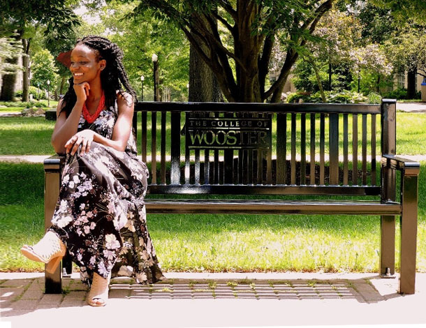 Ngozi Cole on a bench, at the College of Wooster (610x470)