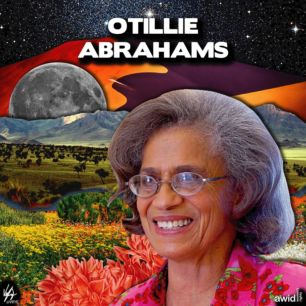 "<strong>Ottilie </strong>was a Namibian feminist activist, educator and politician. Throughout her life, she argued for the right to argue, think, contest, and demand. <br /><a href=""https://www.awid.org/whrd/ottilie-abrahams"" title=""WHRD: Ottilie Abrahams"">Read more ></a>"