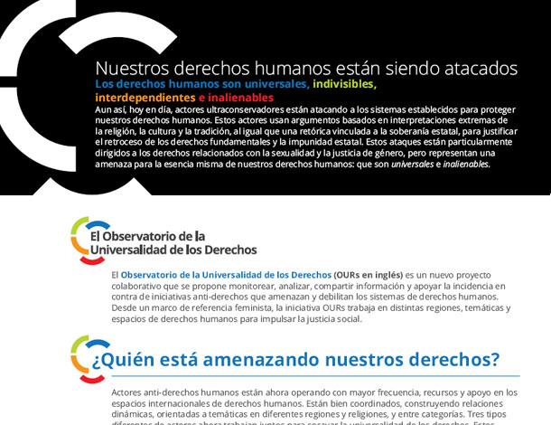 OURs flyer - ESP - Nuestros derechos humanos están siendo atacados (610x470)