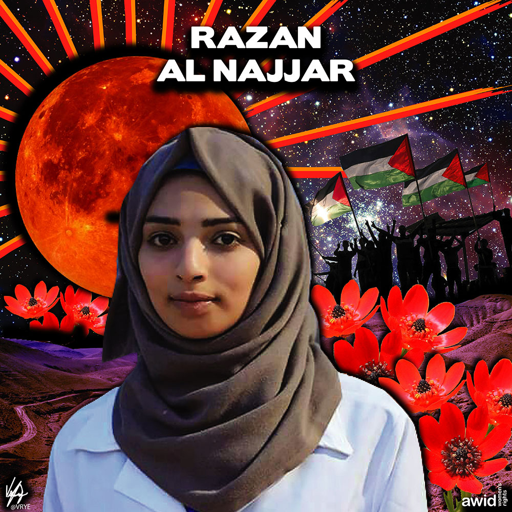"<strong>Razan </strong>was a 21-year-old volunteer medic in Palestine. She was shot in an effort to reach a casualty.<br /><a href=""https://www.awid.org/whrd/razan-al-najjar"" title=""WHRD: Razan Al-Najjar"">Read more ></a>"