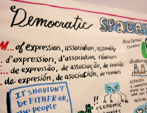 Illustration by SeeHearDraw - Reclaiming Democratic Spaces at the the 2016 AWID Forum (610x470)