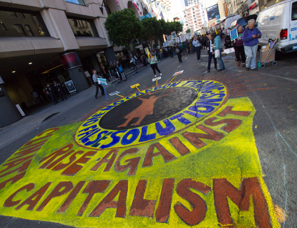 Rise against capitalism - painting on the floor in a street of San Fransisco, September 2018