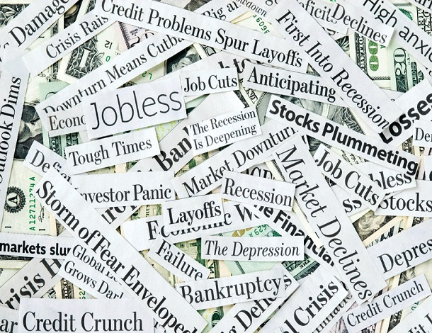 Economic crisis - words collage tile