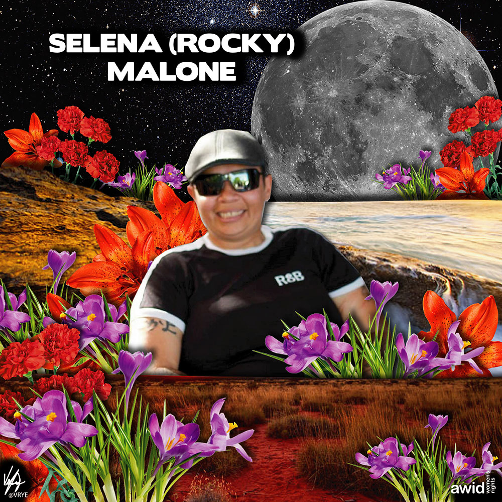 "<strong>Rocky </strong>showed inspirational leadership and direction in working with Lesbian, Gay, Bisexual, Transgender, Intersex, Queer, Brotherboy and Sistergirl (LGBTIQBBSG) youth at risk.<br /><a href=""https://www.awid.org/whrd/selena-rocky-malone"" title=""WHRD: Selena ""Rocky"" Malone"">Read more ></a>"