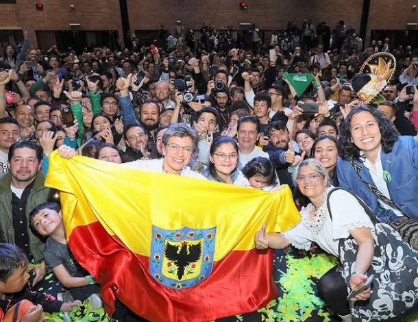elebración en la sede electoral de Claudia López en Bogotá tras victoria en las elecciones de Alcaldía.