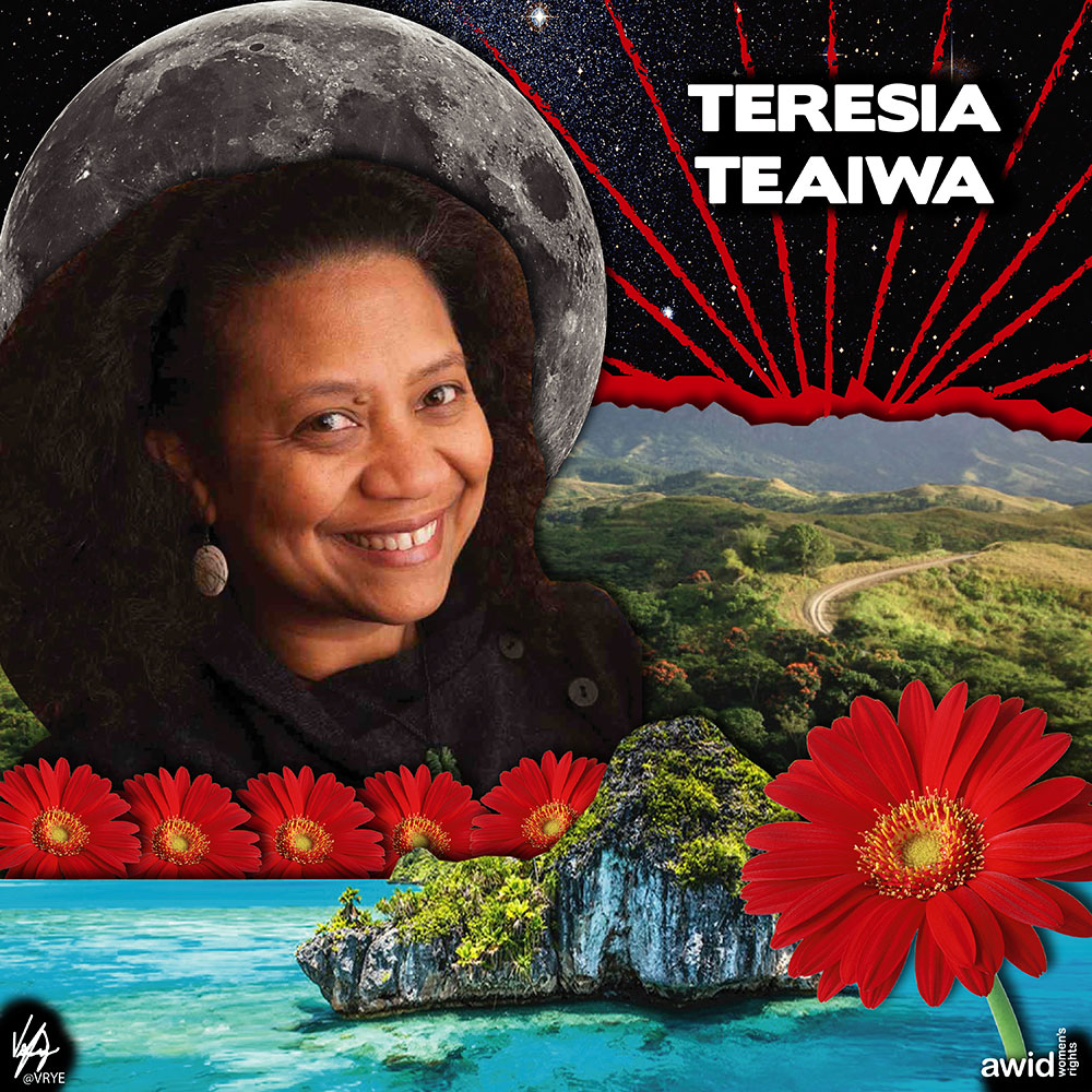 "<strong>Teresia</strong> was a fearless advocate who worked closely with feminist groups in Fiji.<br /><a href=""https://www.awid.org/whrd/teresia-teaiwa"" target=""_blank"" title=""WHRD: Teresia Teaiwa"">Read more ></a>"