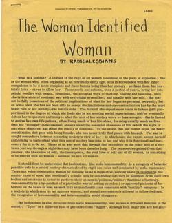 The Woman Identified Woman Manifesto