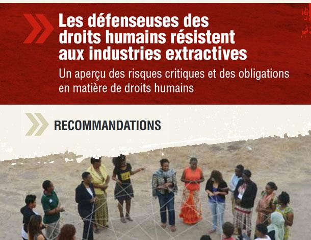 Les défenseuses des droits humains résistent aux industries extractives - Recommandations (610x470)