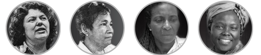 WHRD Tribute - portrait bubble - Berta Cáceres Flores, Gloria Capitan, Ana Fabricia Córdoba Cabrera and Wangari Maathai