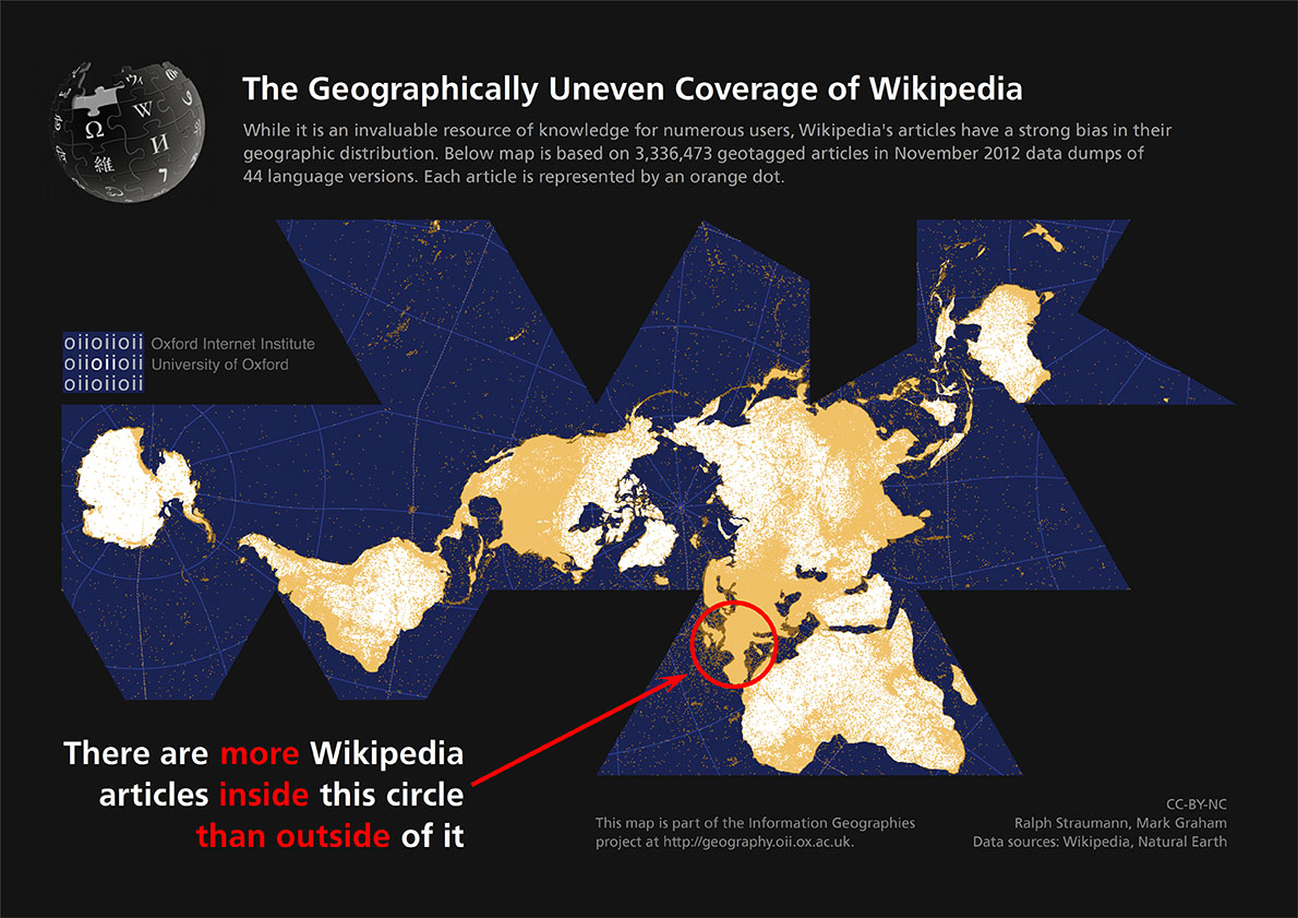 (The Geographically Uneven Coverage of Wikipedia, with permission from Mark Graham, Oxford Internet Institute)