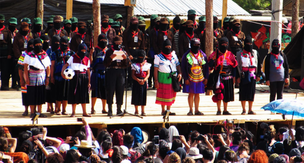 Zapatista women -  on stage (1024x550)